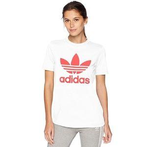 Adidas Red and White Cotton Logo Tee Shirt